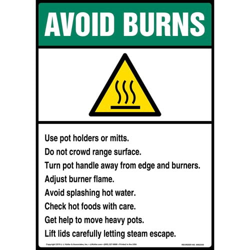 Avoid Burns Sign with Icon - ANSI, Long Format (015242)
