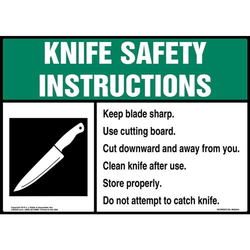 Knife Safety Instructions Sign with Icon - ANSI (015243)