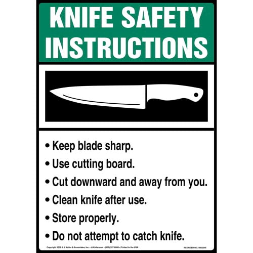 Knife Safety Instructions Sign with Icon - ANSI, Long Format (015244)