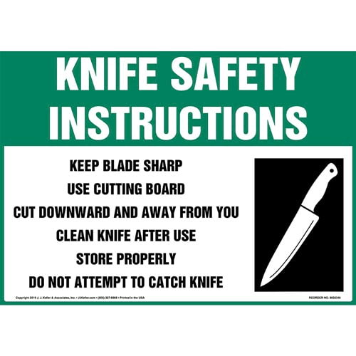 Knife Safety Instructions Sign with Icon - OSHA (015245)