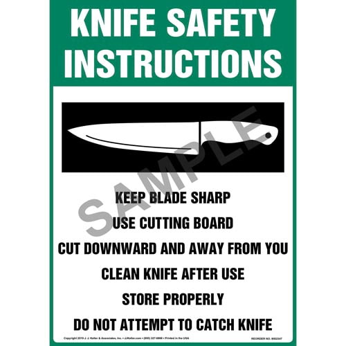 Knife Safety Instructions Sign with Icon - OSHA, Long Format (015246)