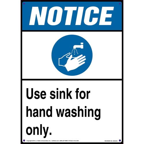 Notice: Use Sink For Hand Washing Only Sign with Icon - ANSI, Long Format (015252)