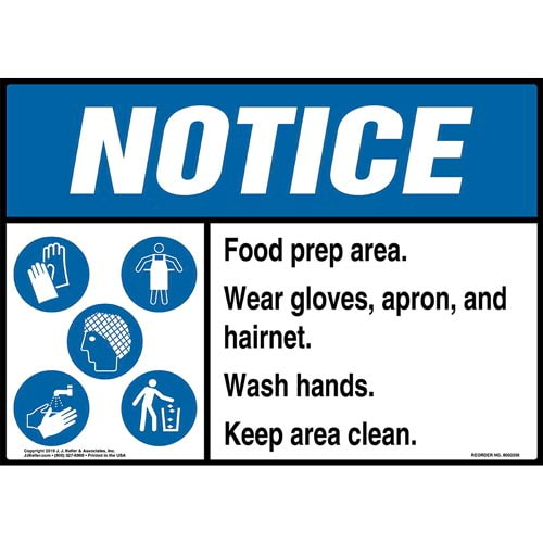Notice: Food Prep Area, Wear Gloves, Apron, And Hairnet, Wash Hands, Keep Area Clean Sign with Icons - ANSI (015255)