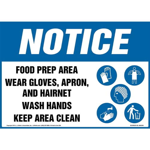 Notice: Food Prep Area, Wear Gloves, Apron, And Hairnet, Wash Hands, Keep Area Clean Sign with Icons - OSHA (015257)