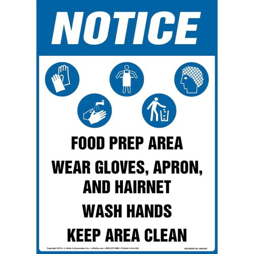 Notice: Food Prep Area, Wear Gloves, Apron, And Hairnet, Wash Hands, Keep Area Clean Sign with Icons - OSHA, Long Format (015258)