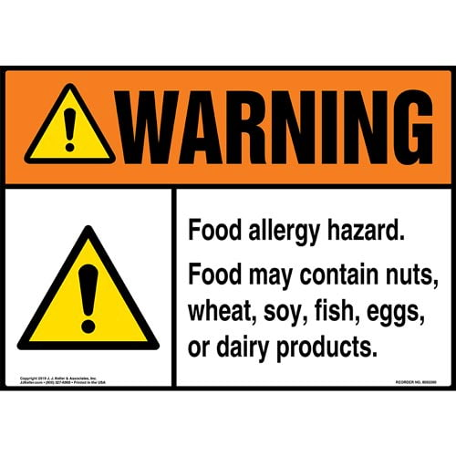 Warning: Food Allergy Hazard, Food May Contain Nuts, Wheat, Soy, Fish, Eggs, Or Dairy Products Sign with Icon - ANSI (015259)