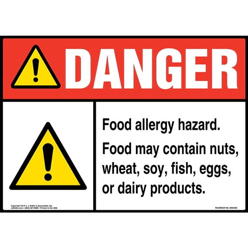 Danger: Food Allergy Hazard, Food May Contain Nuts, Wheat, Soy, Fish, Eggs, Or Dairy Products Sign with Icon - ANSI (015261)