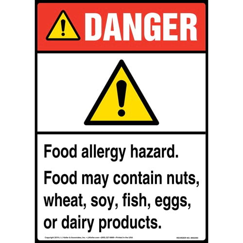 Danger: Food Allergy Hazard, Food May Contain Nuts, Wheat, Soy, Fish, Eggs, Or Dairy Products Sign with Icon - ANSI, Long Format (015262)