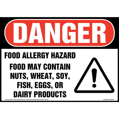 Danger: Food Allergy Hazard, Food May Contain Nuts, Wheat, Soy, Fish, Eggs, Or Dairy Products Sign with Icon - OSHA (015263)
