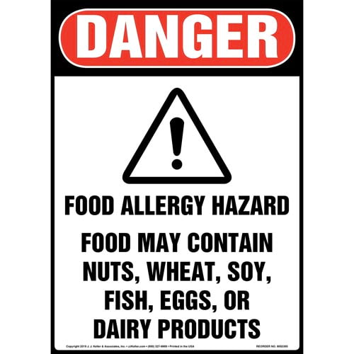 Danger: Food Allergy Hazard, Food May Contain Nuts, Wheat, Soy, Fish, Eggs, Or Dairy Products Sign with Icon - OSHA, Long Format (015264)