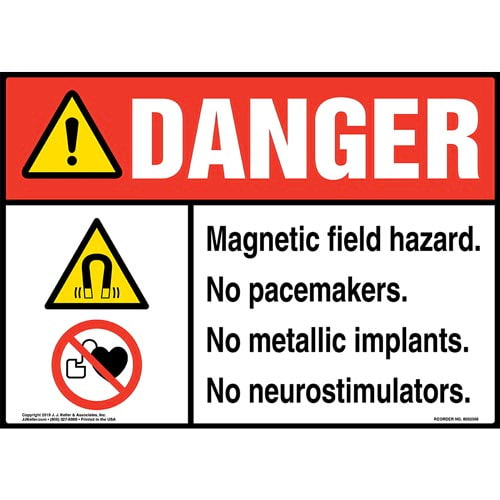 Danger: Magnetic Field Hazard, No Pacemakers, No Metallic Implants, No Neurostimulators Sign with Icons - ANSI (015266)