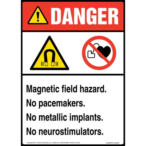Danger: Magnetic Field Hazard, No Pacemakers, No Metallic Implants, No Neurostimulators Sign with Icons - ANSI, Long Format (015267)