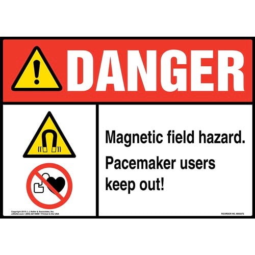 Danger: Magnetic Field Hazard, Pacemaker Users Keep Out Sign with Icons - ANSI (015270)
