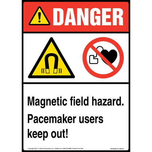 Danger: Magnetic Field Hazard, Pacemaker Users Keep Out Sign with Icons - ANSI, Long Format (015271)