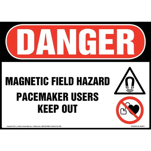 Danger: Magnetic Field Hazard, Pacemaker Users Keep Out Sign with Icon - OSHA (015272)