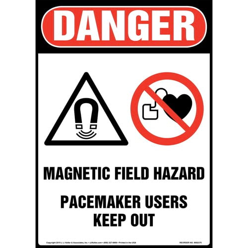 Danger: Magnetic Field Hazard, Pacemaker Users Keep Out Sign with Icon - OSHA, Long Format (015273)
