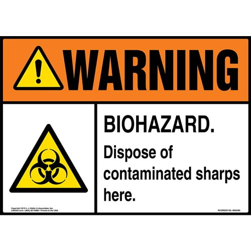 Warning: Biohazard, Dispose Of Contaminated Sharps Here Sign with Icon - ANSI (015278)