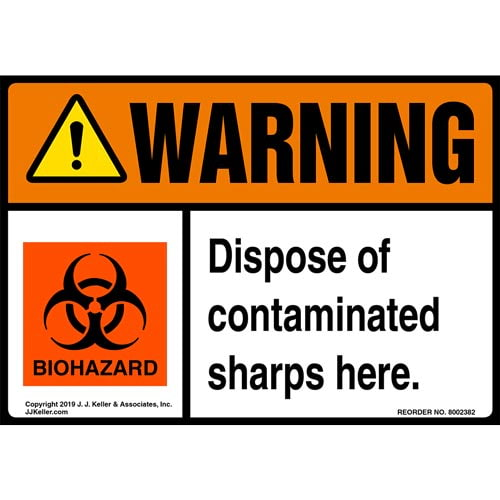 Warning: Dispose Of Contaminated Sharps Here Label with Icon - ANSI (015280)