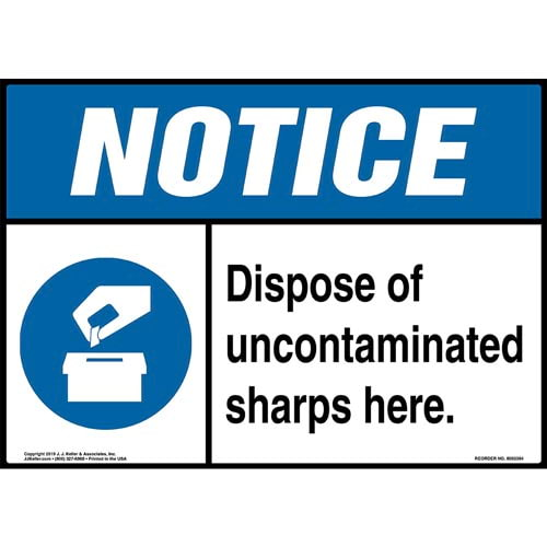 Notice: Dispose Of Uncontaminated Sharps Here Sign with Icon - ANSI (015282)