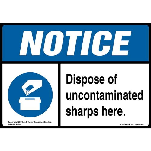 Notice: Dispose Of Uncontaminated Sharps Here Label with Icon - ANSI (015284)