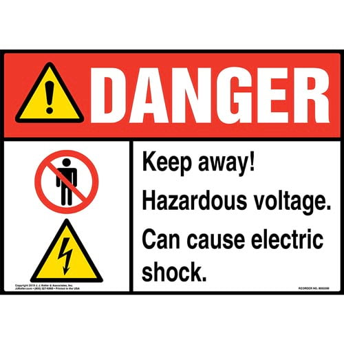 Danger: Keep Away, Hazardous Voltage, Can Cause Electric Shock Sign with Icons - ANSI (015286)