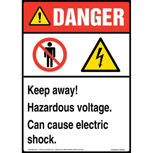 Danger: Keep Away, Hazardous Voltage, Can Cause Electric Shock Sign with Icons - ANSI, Long Format (015287)