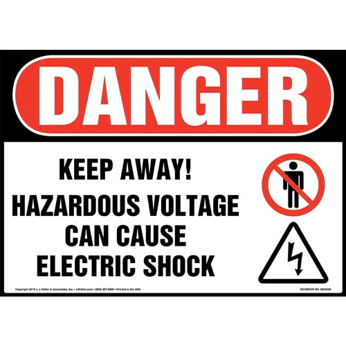 Danger: Keep Away, Hazardous Voltage, Can Cause Electric Shock Sign with Icons - OSHA (015288)