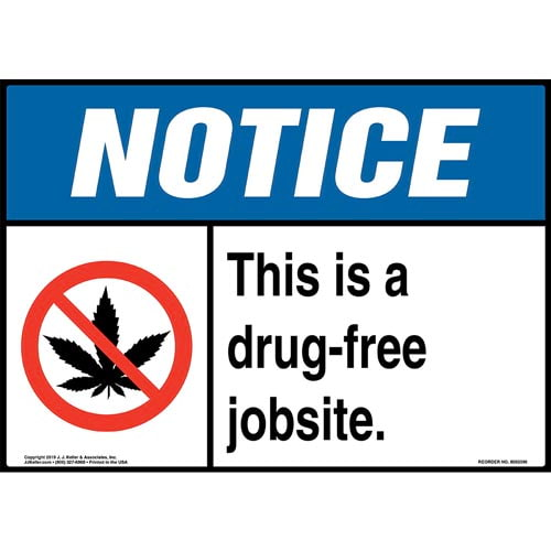 Notice: This Is A Drug-Free Jobsite Sign with Icon - ANSI (015294)