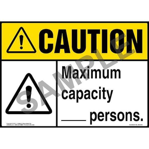Caution: Maximum Capacity Sign with Icon - ANSI (015298)