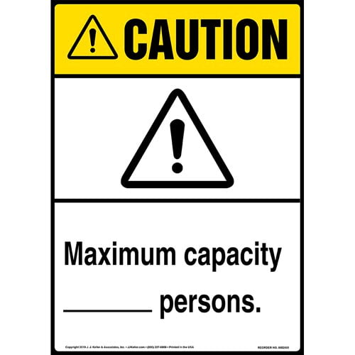 Caution: Maximum Capacity Sign with Icon - ANSI, Long Format (015299)