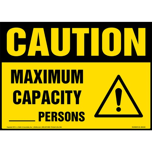 Caution: Maximum Capacity Sign with Icon - OSHA (015300)