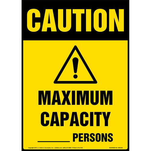 Caution: Maximum Capacity Sign with Icon - OSHA, Long Format (015301)