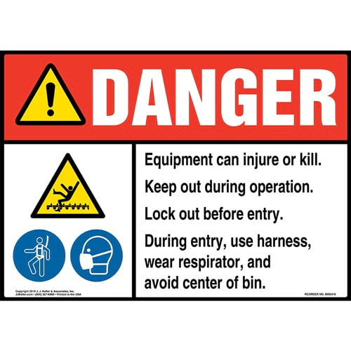 Danger: Equipment Can Injure Or Kill, Keep Out During Operation, Lock Out Before Entry Sign with Icons - ANSI (015314)