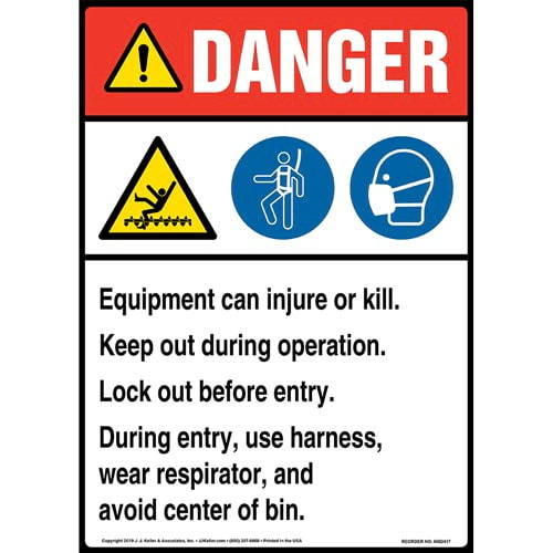 Danger: Equipment Can Injure Or Kill, Keep Out During Operation, Lock Out Before Entry Sign with Icons - ANSI, Long Format (015315)