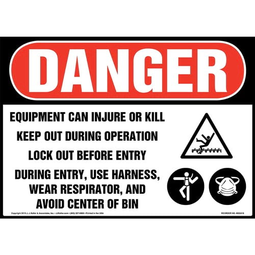 Danger: Equipment Can Injure Or Kill, Keep Out During Operation, Lock Out Before Entry Sign with Icons - OSHA (015316)