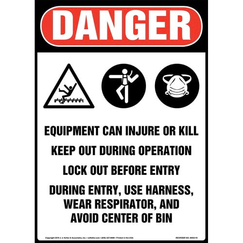 Danger: Equipment Can Injure Or Kill, Keep Out During Operation, Lock Out Before Entry Sign with Icons - OSHA, Long Format (015317)