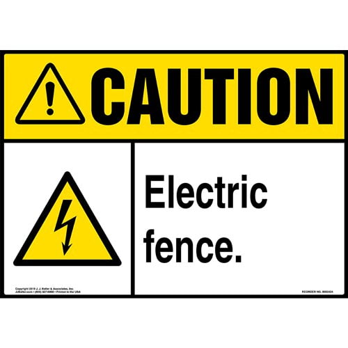 Caution: Electric Fence Sign with Icon - ANSI (015322)