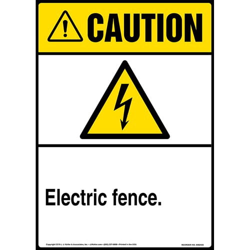 Caution: Electric Fence Sign with Icon - ANSI, Long Format (015323)