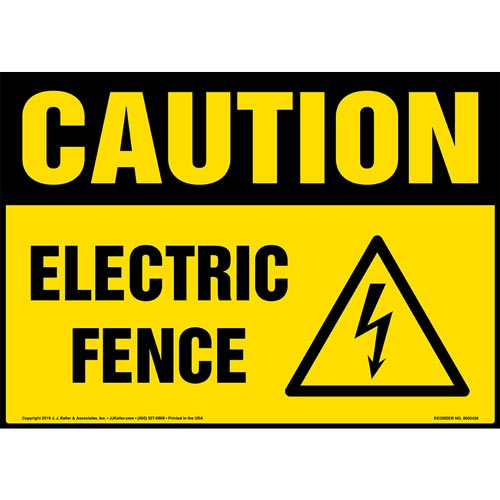Caution: Electric Fence Sign with Icon - OSHA (015324)