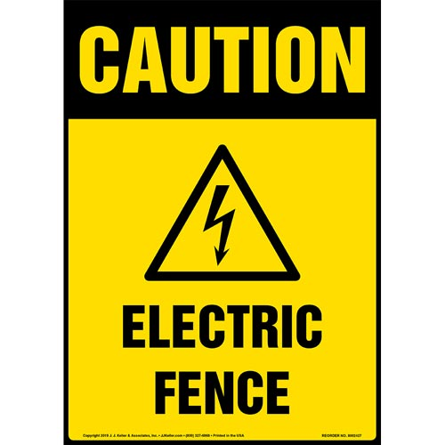 Caution: Electric Fence Sign with Icon - OSHA, Long Format (015325)