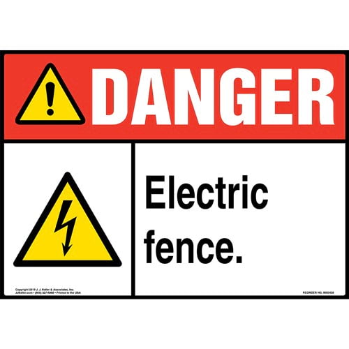 Danger: Electric Fence Sign with Icon - ANSI (015326)