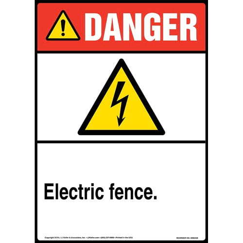 Danger: Electric Fence Sign with Icon - ANSI, Long Format (015327)