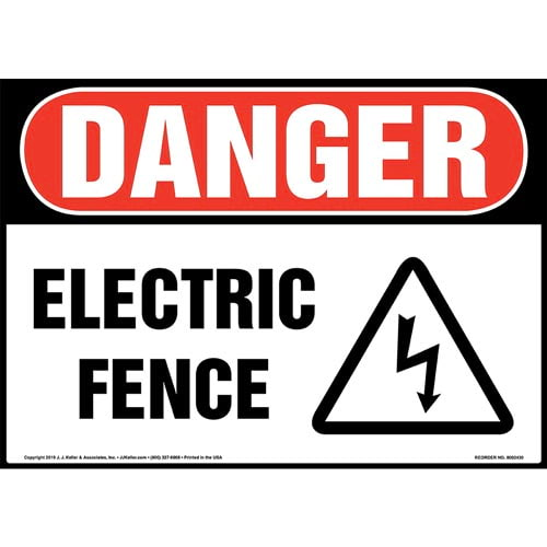 Danger: Electric Fence Sign with Icon - OSHA (015328)