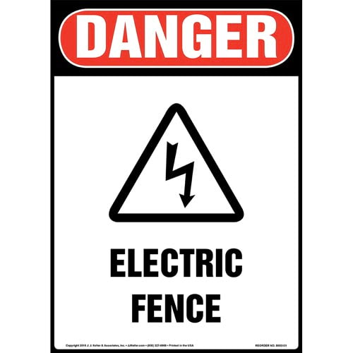 Danger: Electric Fence Sign with Icon - OSHA, Long Format (015329)