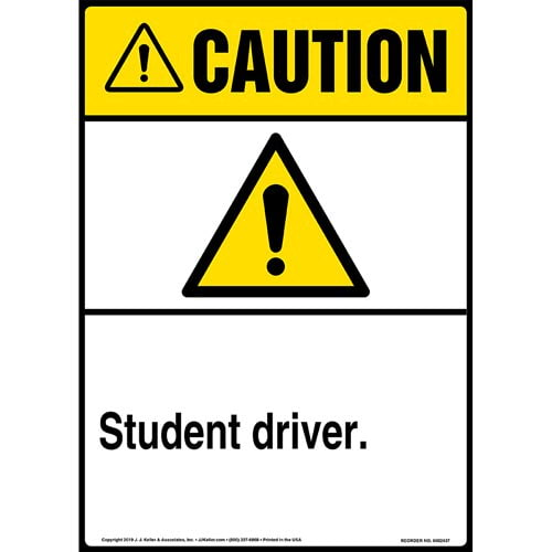 Caution: Student Driver Sign with Icon - ANSI, Long Format (015335)