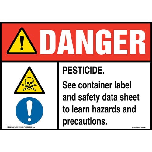 Danger: Pesticide, See Container Label And Safety Data Sheet Sign with Icons - ANSI (015342)