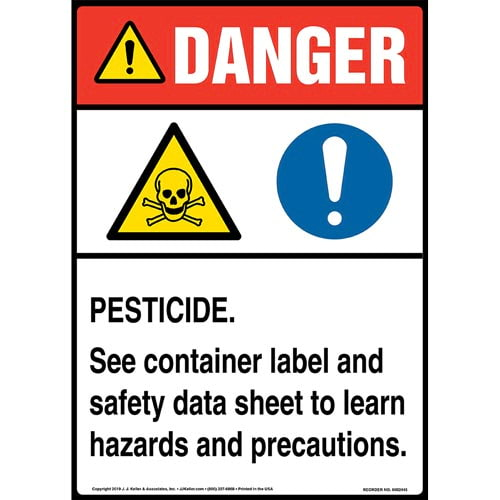 Danger: Pesticide, See Container Label And Safety Data Sheet Sign with Icons - ANSI, Long Format (015343)