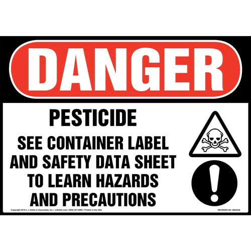 Danger: Pesticide, See Container Label And Safety Data Sheet Sign with Icons - OSHA (015344)