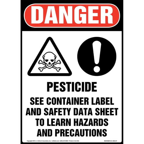 Danger: Pesticide, See Container Label And Safety Data Sheet Sign with Icons - OSHA, Long Format (015345)