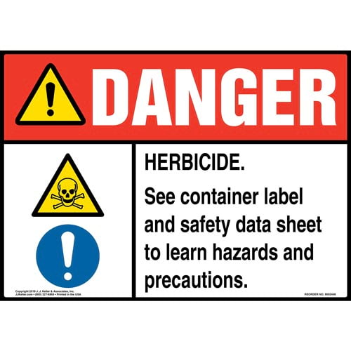 Danger: Herbicide, See Container Label And Safety Data Sheet Sign with Icons - ANSI (015346)